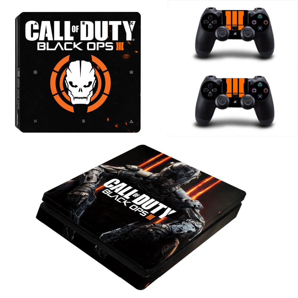 Playstation 4 slim için etiketler ps4 slim konsolu ve 2 kontrolör skins sticker-duty black ops iii
