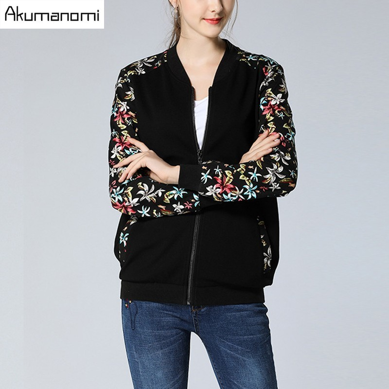 Autumn Winter Jackets Stand Collar Floral Print Full Sleeve Ribbed Cuff Panelled Pocket Women Clothes Spring Coat Tops Plus Size