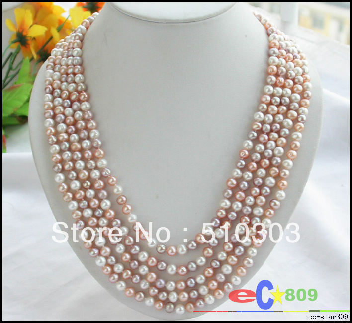 5 Strands 7 MM WHITE PINK PURPLE ROUND CULTURED PEARL NECKLACE